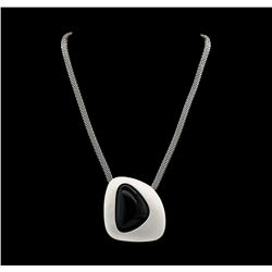 Asymmetry Stone Pendant Short Necklace - Rhodium