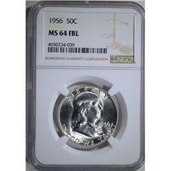 1956 FRANKLIN HALF DOLLAR, NGC MS-64 FBL