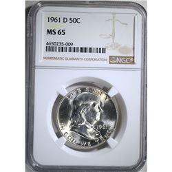 1961-D FRANKLIN HALF DOLLAR, NGC MS-65