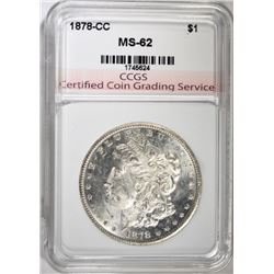1878-CC MORGAN SILVER DOLLAR, CCGS BU