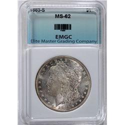 1883-S MORGAN SILVER DOLLAR, EMGC CH BU