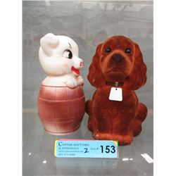 2 Vintage Plastic Piggy Banks