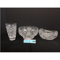 2 Pinwheel Crystal Bowls & Vase