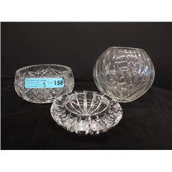 Crystal Vase, Bowl & Ashtray