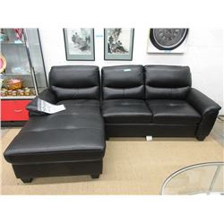 """New 97"""" Black Leather Like Sofa with Chaise End"""