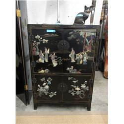Vintage Asian Black Lacquer Chinoiserie Cabinet