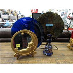 Mirror, Vintage Vase & Glass Bowl & Plate