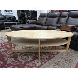 Oval IKEA Coffee Table with Bottom Shelf
