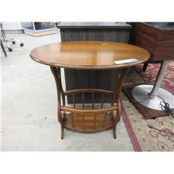 Oval Magazine Rack End Table