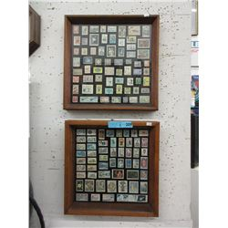 2 Wood Framed Stamp Collections