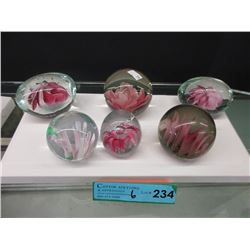 6 Pink Clear & Pink Art Glass Paperweights
