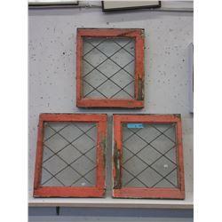3 Vintage Leaded Glass Windows