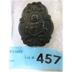 Hand Carved Black Jade Buddha Amulet / Pendant