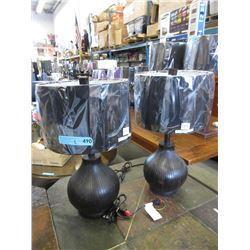Pair of New Wood Base Table Lamps
