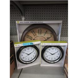 3 New Wall Clocks with Glass Lens