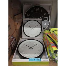 3 New Wall Clocks - Glass Lens