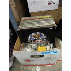 Box of Vintage LP Records & Some CDs