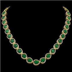 64.01 CTW Emerald & Diamond Halo Necklace 10K Yellow Gold - REF-838X2T - 41188
