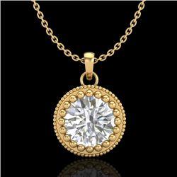 1 CTW VS/SI Diamond Solitaire Art Deco Necklace 18K Yellow Gold - REF-292T5M - 36892