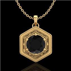 0.76 CTW Fancy Black Diamond Solitaire Art Deco Stud Necklace 18K Yellow Gold - REF-47Y3K - 37515