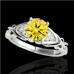 1.1 CTW Certified Si Fancy Yellow Diamond Solitaire Ring 10K White Gold - REF-161K8W - 35206