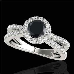2 CTW Certified VS Black Diamond Solitaire Halo Ring 10K White Gold - REF-99X3T - 33858