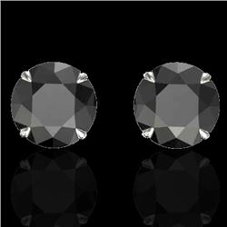 4 CTW Black VS/SI Diamond Designer Inspired Stud Earrings 18K White Gold - REF-125N5Y - 21815