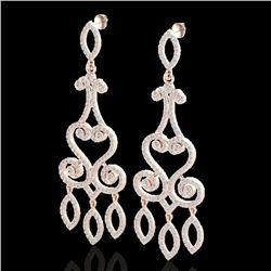 3.25 CTW VS/SI Diamond Micro Pave Designer Earrings 14K Rose Gold - REF-253A6X - 22416