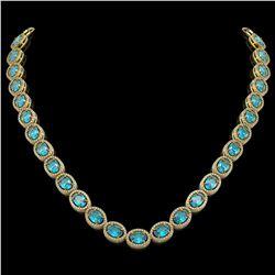 55.41 CTW Swiss Topaz & Diamond Halo Necklace 10K Yellow Gold - REF-681F8N - 40588