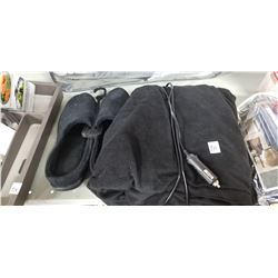 Car Operated Warm Black Soft Blanket