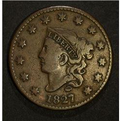 1827 LARGE CENT, CHOICE VF