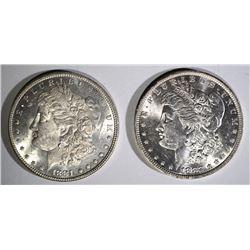 1881 & 1882-O MORGAN DOLLARS, CH BU