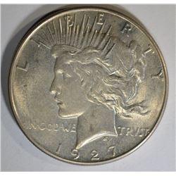 1927-S PEACE SILVER DOLLAR, BU