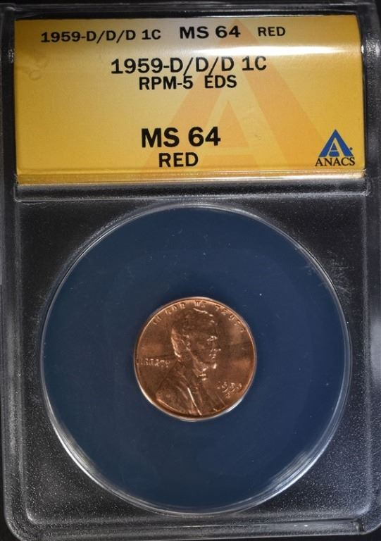 1959-D/D/D LINCOLN CENT ANACS MS 64 RED