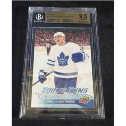 Auston Matthews YG Canvas Beckett Graded 9.5