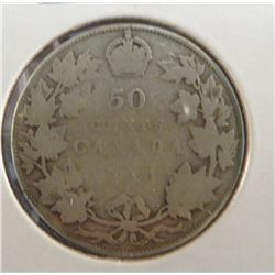 1910 Canadian Silver King George 50 Cent Coin