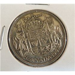 1947 Canadian Silver King George 50 Cent Coin