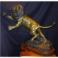 """Lion Bronze Entitled """"Challenger"""" (19""""H x 15""""L x 16""""W)"""
