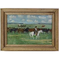 Original oil on board by Texas artist C.E. Shirey