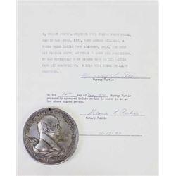 Martin Van Buren silver peace medal 76mm