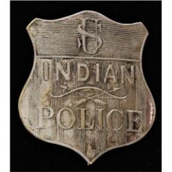 US Indian Police shield badge silver over brass