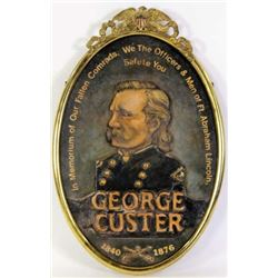 General George Custer hand painted on wood