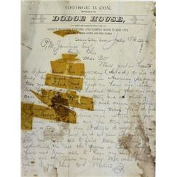 HIstoric Dodge City old west letter written1884