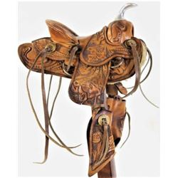 Vintage miniature leather saddle