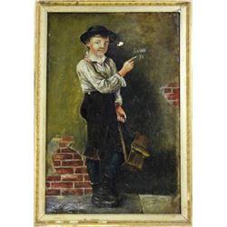 "Antique oil on canvas ""Shoeshine Bay"""