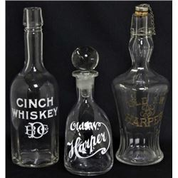 Collection of 3 antique back bar bottles