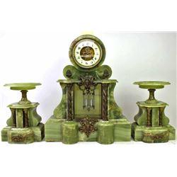 C. 1890s green onyx 3 piece garniture clock set