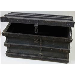 Large express agency trunk iron and wood bound
