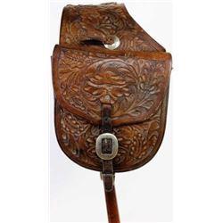 Hamley stamped leather saddle pockets