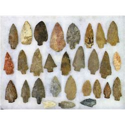 Collection of 29 authentic stone arrowheads